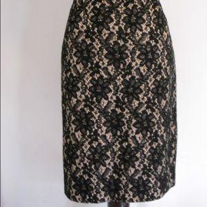 Talbots Black gold Lace Floral Pencil Skirt  6P
